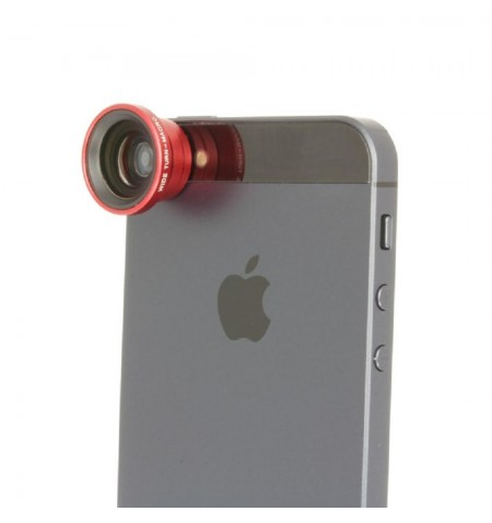 iPhone 5 avec Objectif Grand Angle Rouge